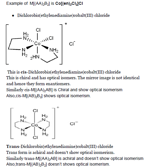 Octahedral Coordination Compound Having Formula M Aa 2b2 And M Aa 2ab Where Aa Is A Symmetric Bidentate Ligand Will Show Optical Isomerism Or Not If Yes The Plase Show The Optical Isomers Structure