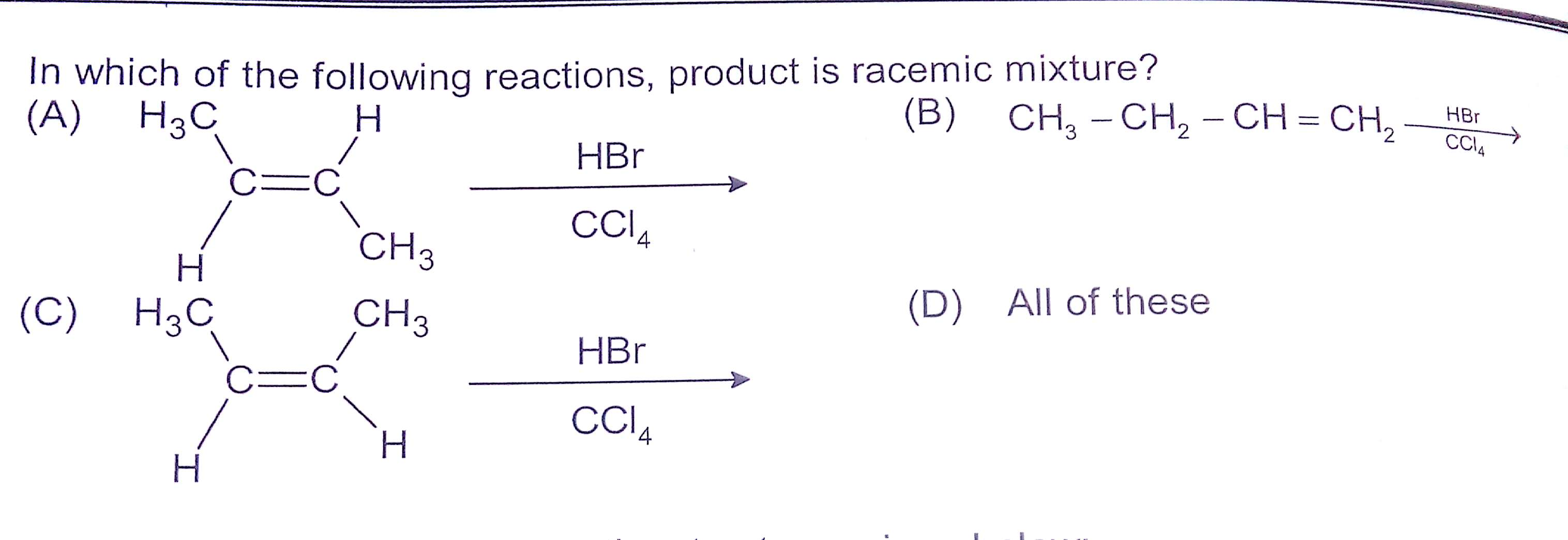 Why Do All Give Racemic Mixture Inspite Taking Ccl4 As Solvent Non Polar