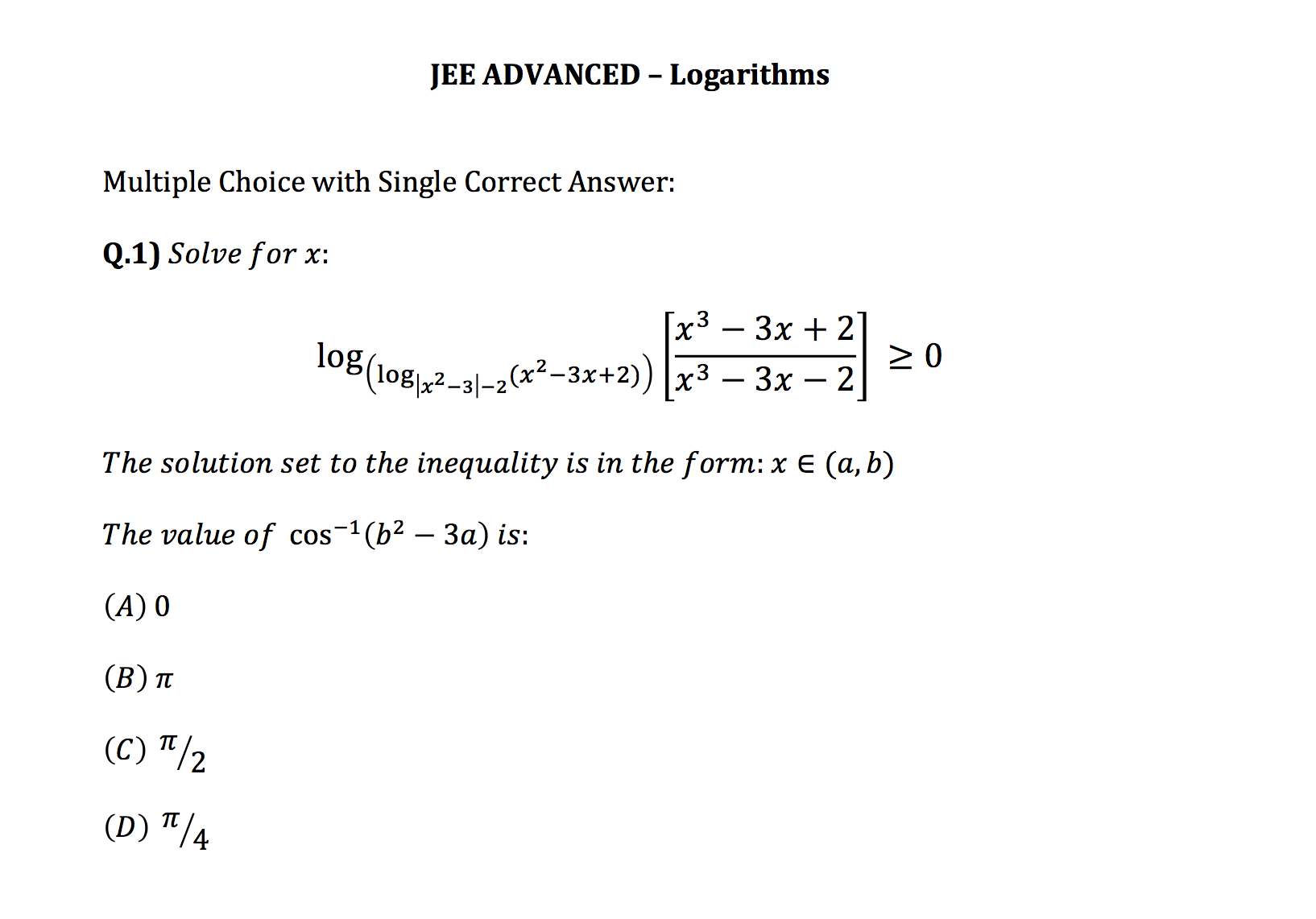 Jee Advanced Question on Logarithms  Please Solve for x: