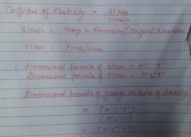 Dimensional Formula Of Youngs Modulus Of Elasticity