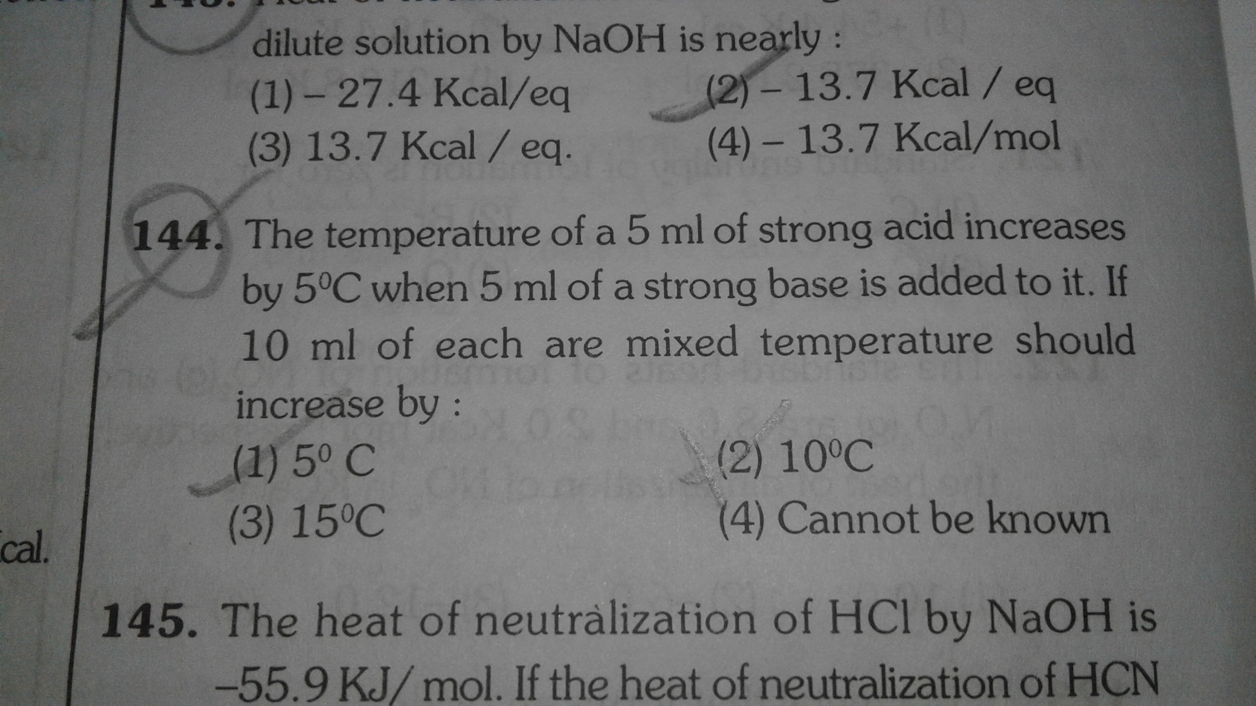 Enthalpy Of Neutralization Of Hcl With Naoh
