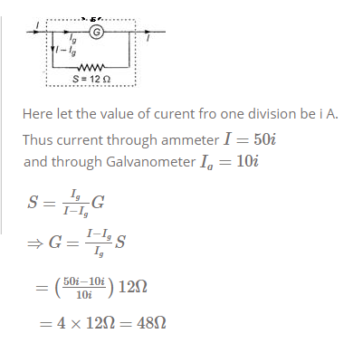 The deflection in a galvanometer falls from 50 to 20