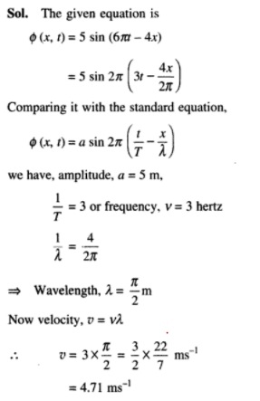 what is the velocity of the wave represented by the formula