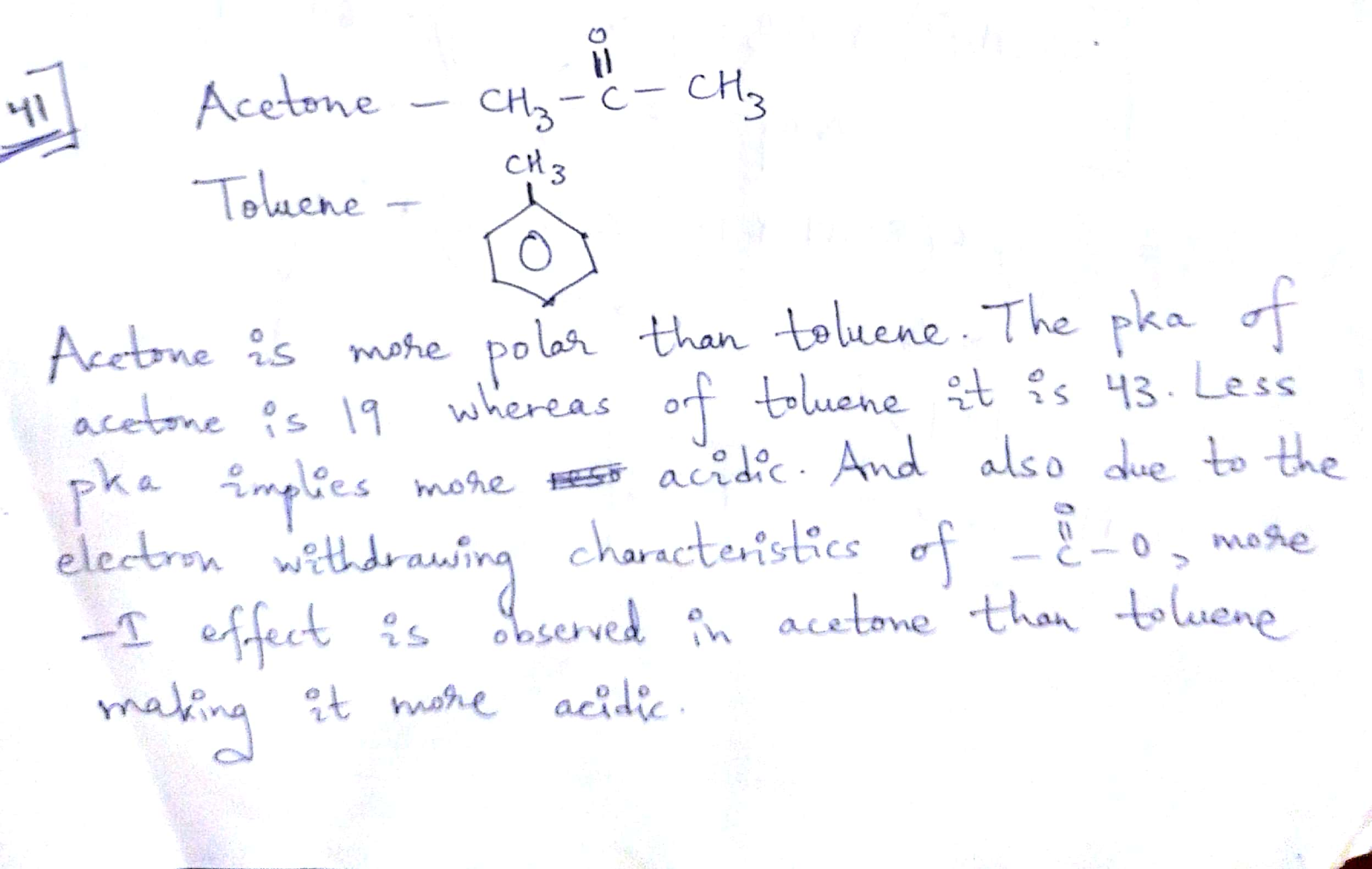 Why is acetone more acidic than toluene??